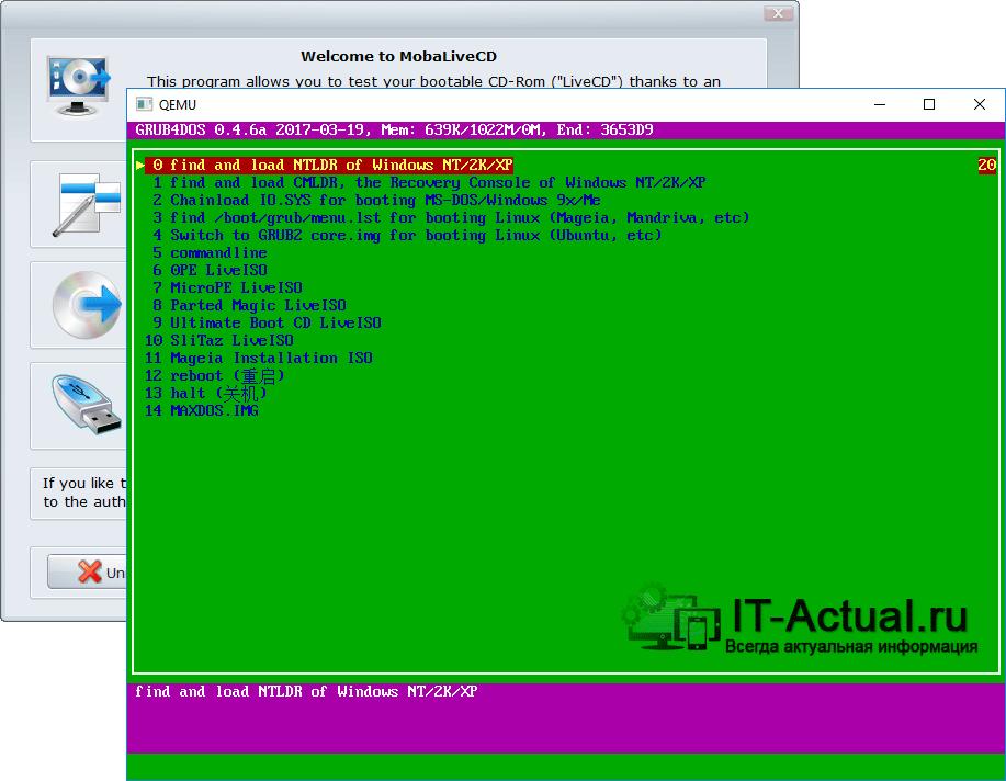 Окно программы MobaLiveCD: эмуляция окна загрузчика Grub4Dos