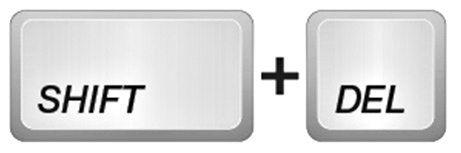 Сочетание клавиш Shift + Del