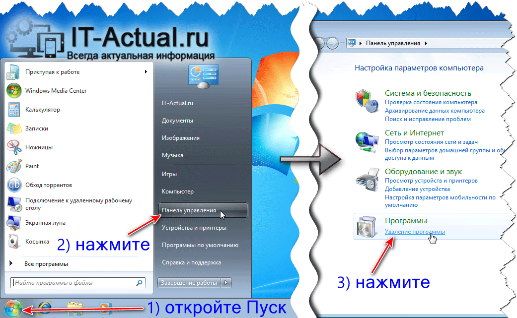 Открытие списка установленных программ в Windows 7