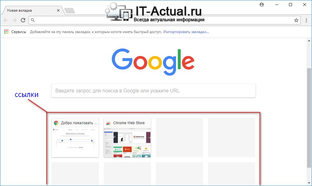 Новая вкладка браузера Google Chrome с кнопками быстрых ссылок на ранее посещённые сайты