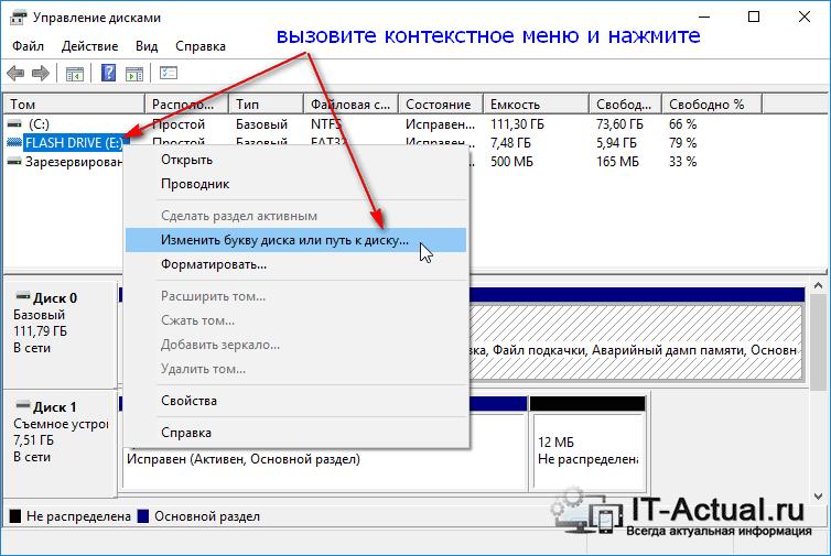Системное окно «Управление дисками»: выбираем диск, которому нужно сменить букву