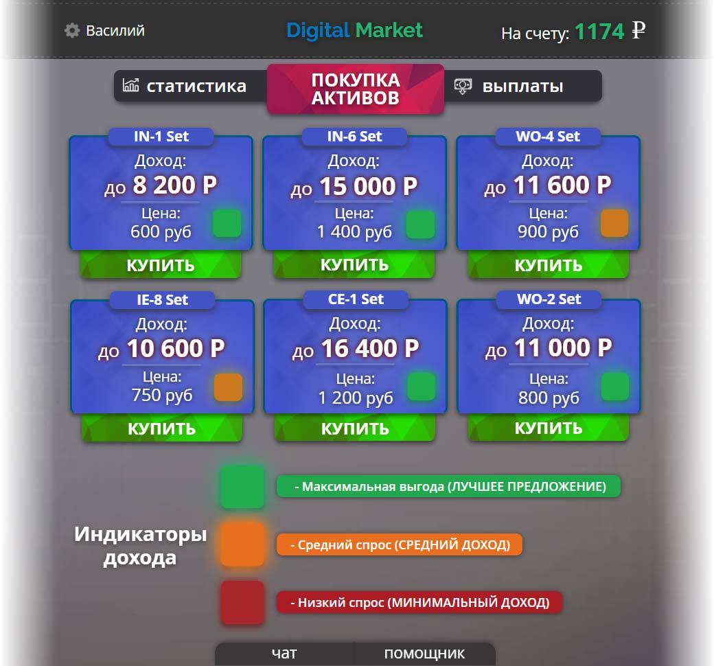 Интерфейс торговли цифровыми активами