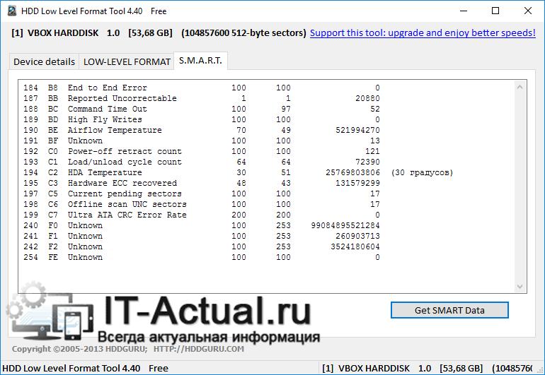 Вкладка S.M.A.R.T в HDD Low Level Format Tool