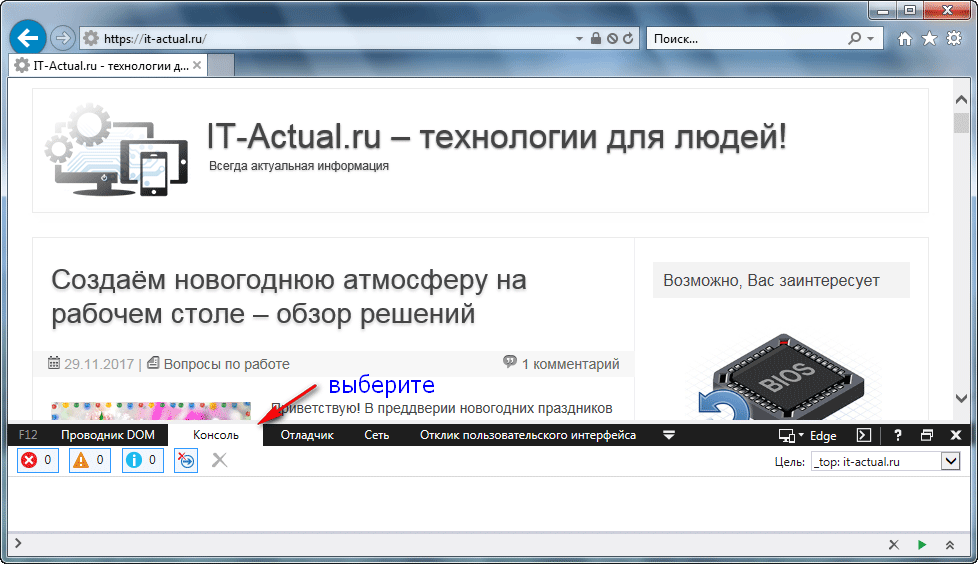 Консоль для ввода команды в браузере Internet Explorer
