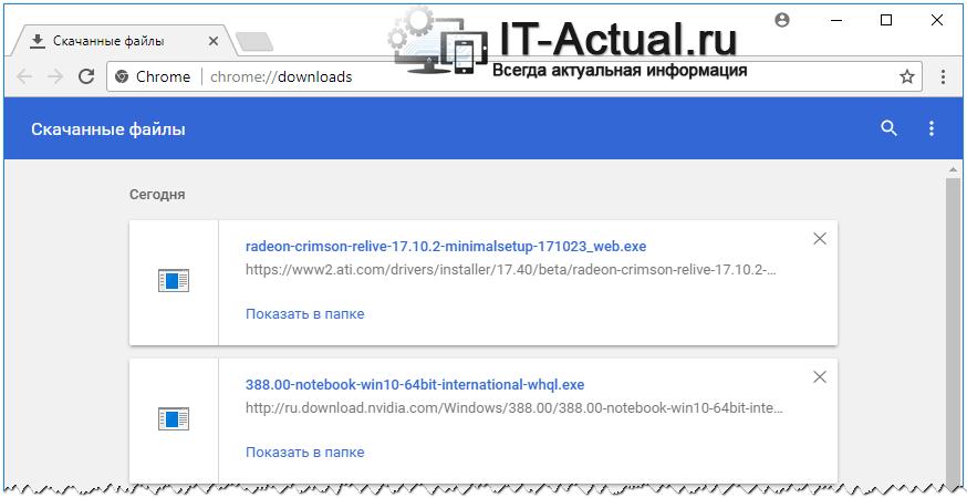 Страница со списком загруженных файлов в Гугл Хром