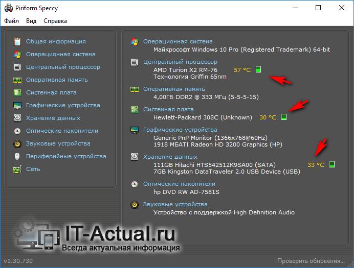 Окно программы Speccy: температура компонентов ноутбука