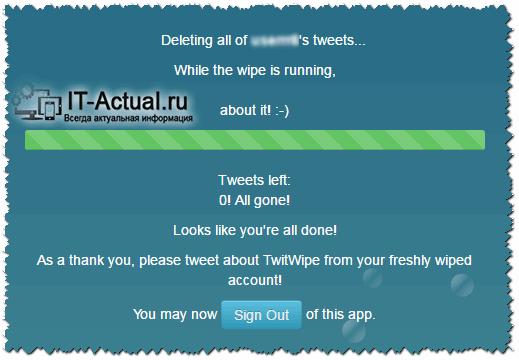 Процесс очистки твиттер записей сервисом TwitWipe