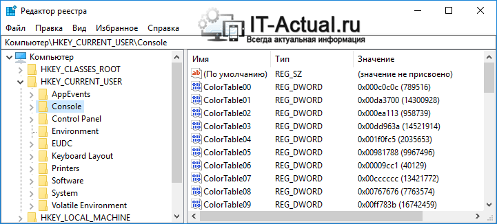 Окно редактора реестра в Windows