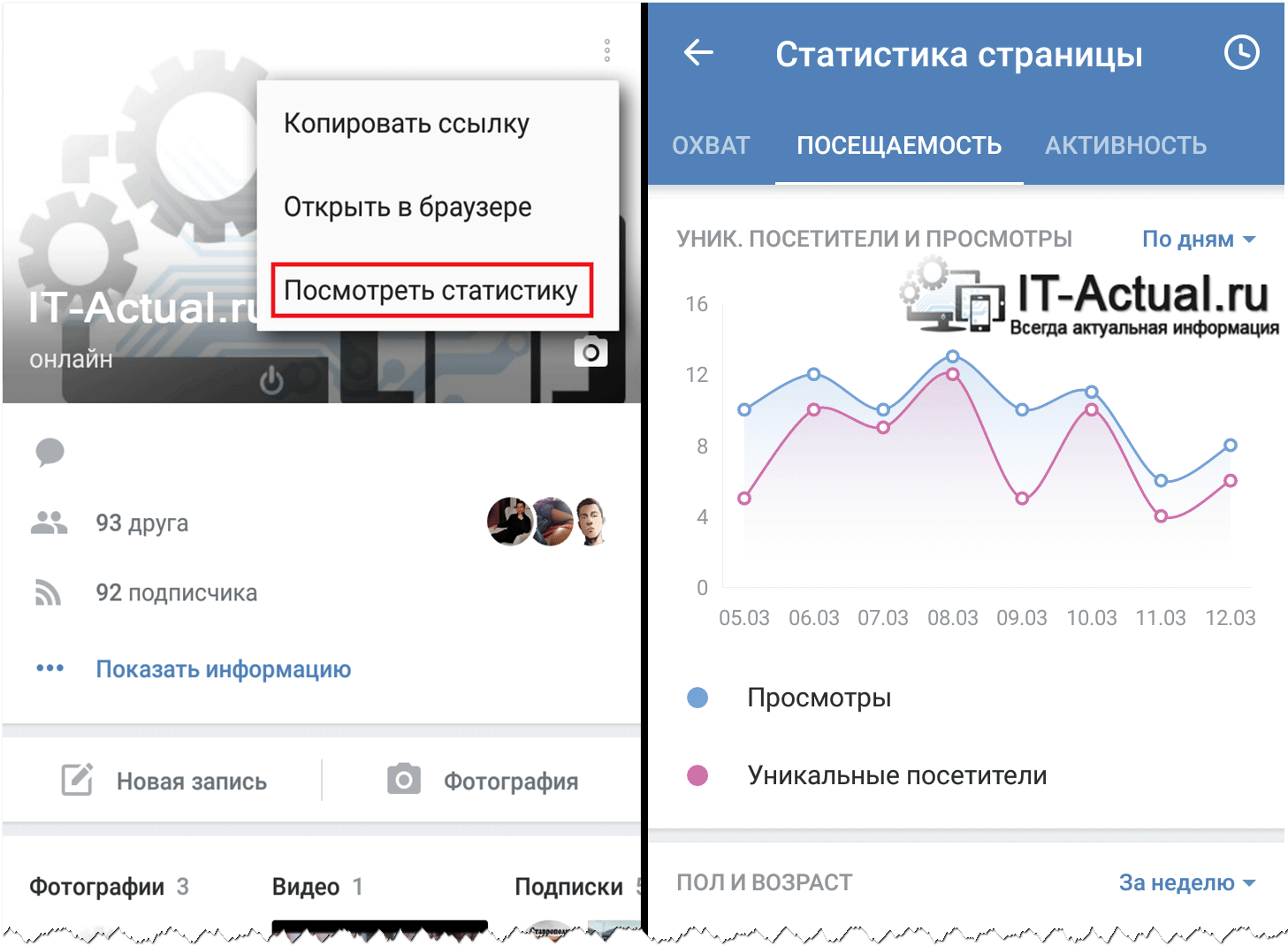 Как открыть страницу статистики ВК в мобильном приложении