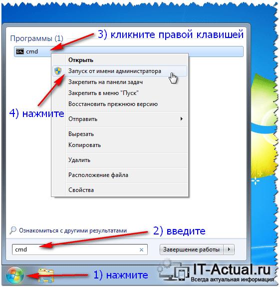 Открытие командной строки с правами администратора в Windows 7