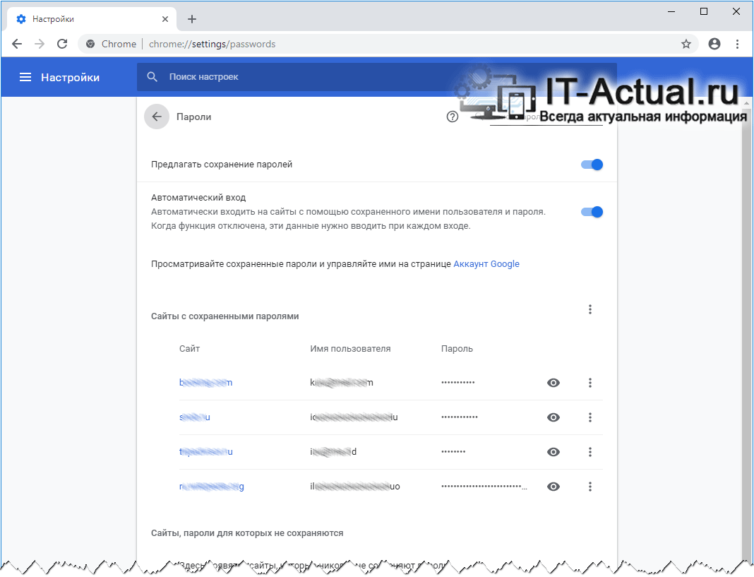 Полный список сайтов, для которых сохранены логины и пароли в браузере Google Chrome