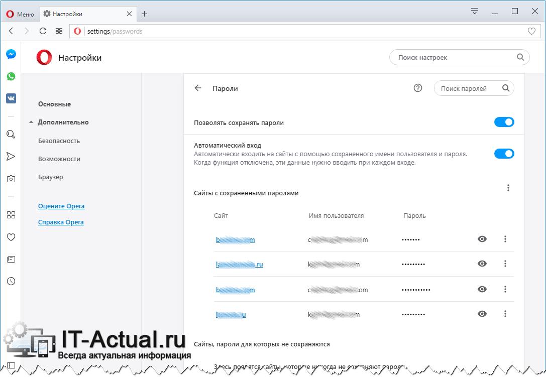 Список всех сайтов, для которых сохранены логины и пароли в браузере Opera