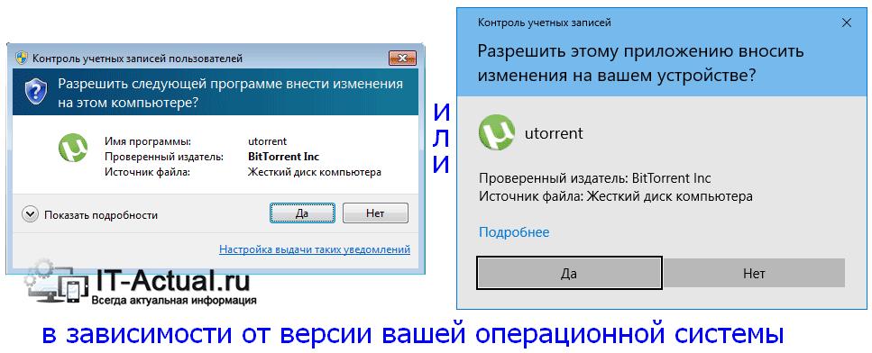 Окно подтверждения UAC в Windows