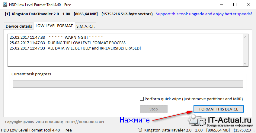 Вкладка LOW-LEVEL FORMAT программы «HDD Low Level Format Tool»