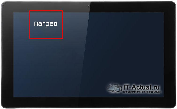 Область нагрева планшета Teclast Tbook 11