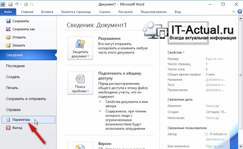 Microsoft Word: пункт меню «Параметры»