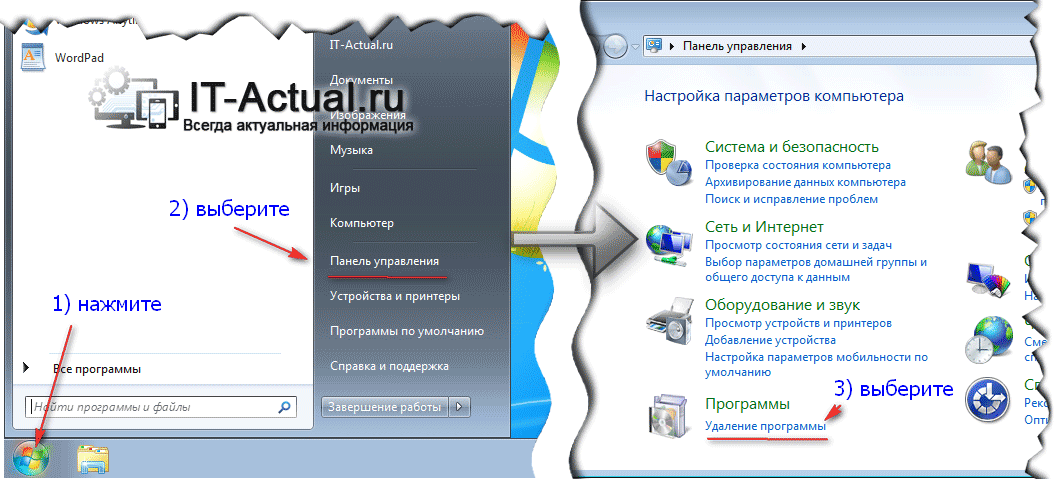 Открываем системное окно «Программы и компоненты» в Windows Vista и 7