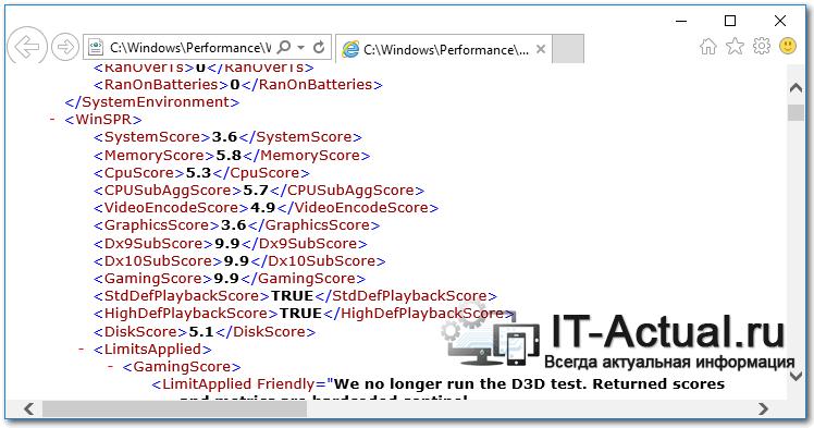 Файл с актуальными данными индекса производительности Windows