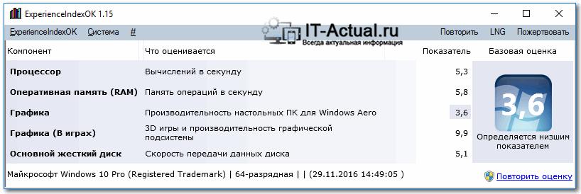 Окно утилиты ExperienceIndexOK